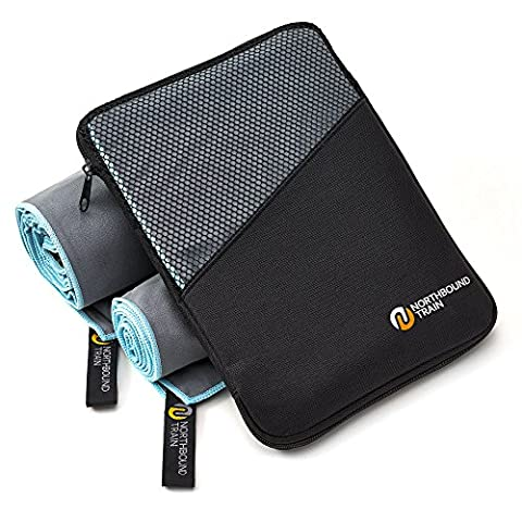 Microfibre Towel System by Northbound, 4x Fast Drying, 6x More Absorbent, Packs 8x Smaller, Anti-Bacterial ZO6 Coating, Great for Gym, Camping, Yoga, Travel- PLUS: 1 Extra Sport Towel + Mesh