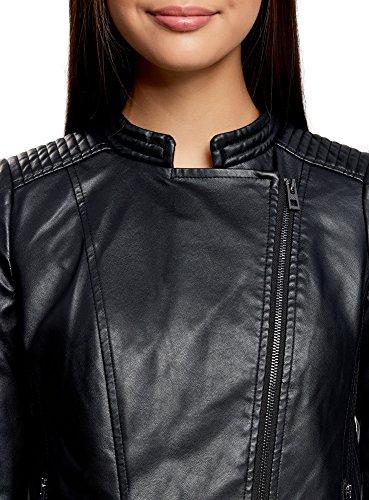 oodji Ultra Femme Blouson en Simili Cuir Noir (2900N)