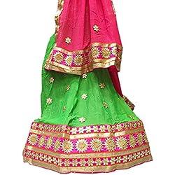 K.K.Sales Crepe Silk Lehenga Choli (Green & Rani Pink_Free Size)