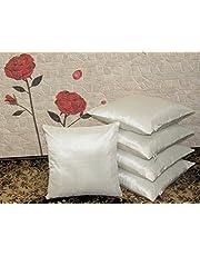 "Zikrak Exim 5 Peice Plain Cushion Cover Set-16""x16"",Off White"
