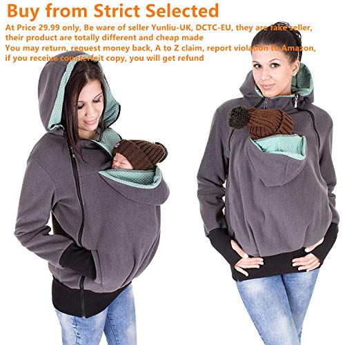 Exclusive Version-NeuFashion Double Thick Real Baby Carrier Hoodie Jacket Kangaroo Coat/Jacket Women Maternity Pregnant Top Baby Wearing Baby Holder Fleece Hooded Sweatshirt Baby Carrier Sweater