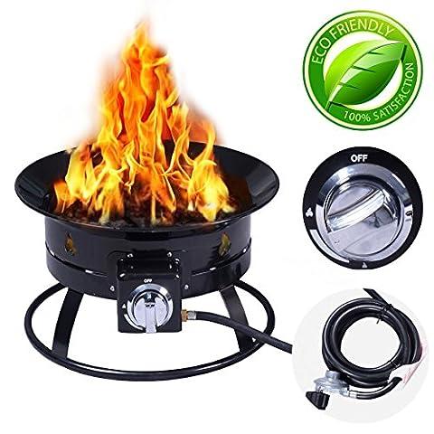 Costway Outdoor Gas Fire Pit Steel Patio Heater Portable Firepit Garden Fireplace Bowl