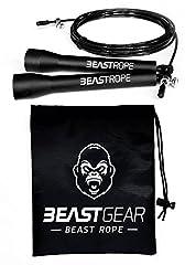Idea Regalo - Corda per saltare della Beast Gear - Corda veloce per Crossfit, Pugilato, MMA. Peso leggero con lunghezza regolabile e meccanismo a cuscinetto a sfera resistente - Perfetta per i Double Unders