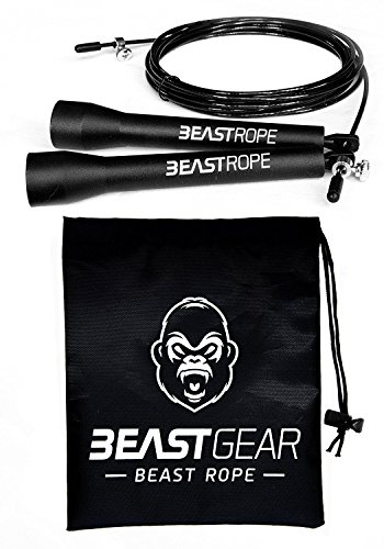 Springseil von Beast Gear – Speed Rope Für Fitness, Ausdauer & Abnehmen. Ideal für Boxen, MMA, Crossfit, HIIT, Intervalltraining & Double Unders  (100 Outdoor-materialien)