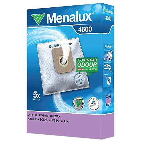 Menalux 4600 - Bolsas para aspiradores Fagor VCE140 y VCE145, Solac 898, 901, 903 y A401, Clatronic, Bomann