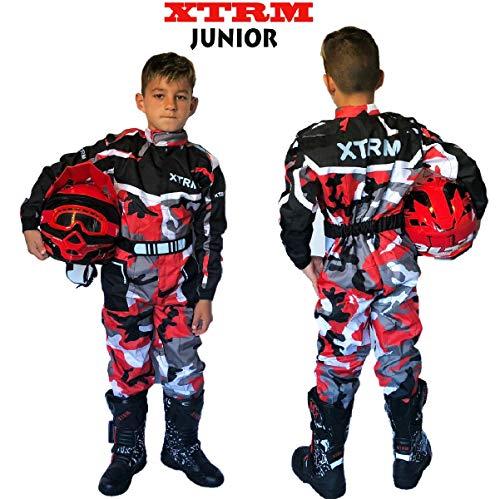 TUTA MOTO BAMBINO XTRM Nuovi Tuta da Kart Per Bambini Moto QUAD PITBIKE Dirt Bike ATV Scooter Tuta da Corsa Motocicletta Go-Kart Motocross da bambini MX Suit, Multicolori (Camo Rosso, S)