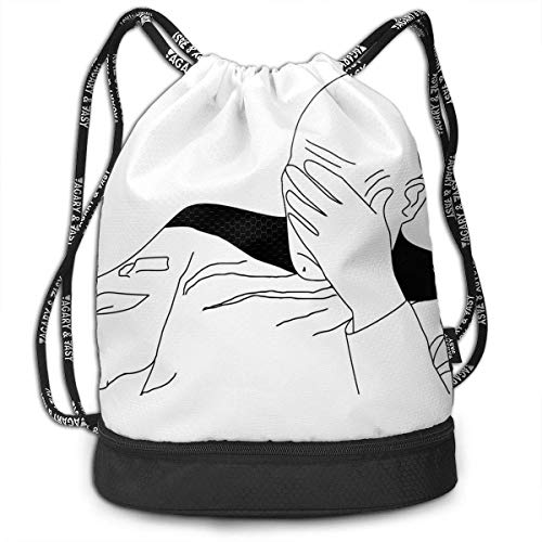 Rucksäcke,Sporttaschen,Turnbeutel,Daypacks, Funny Unisex Drawstring Beam Backpack Stick Figure Man Print Backpack - Mikrofaser Drawstring-rucksack