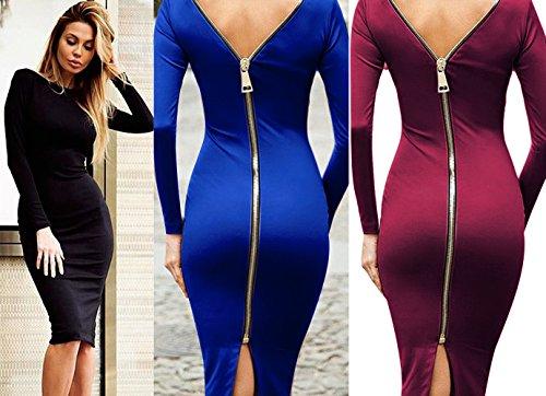 Mangotree Übergroßen Damen Bandage Midikleid Frauen Langarm Zipper Rückenfrei Ballkleid Abendkleid Slim Cocktail Bleistiftkleid Blau