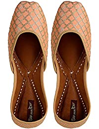 Dip your toes Genuine Leather Closed Toe Gold Embroidery Jutti for Women's