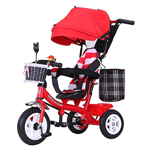 GSDZSY - Baby Tricycle Stroller 3 Wheel Bike, 4 In 1, With Removable Push Handle Bar,Rubber Wheel, Awning,With Brake, 1-6years,D  GSDZSY