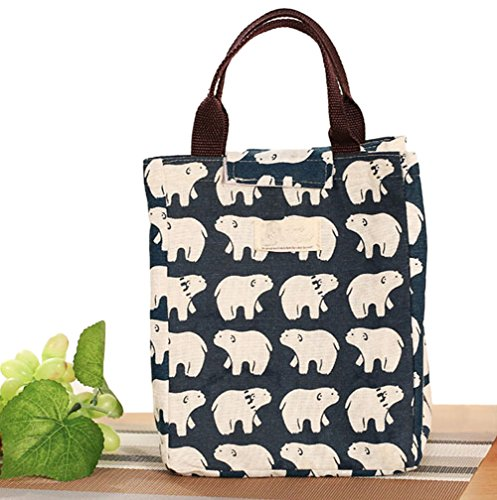 sookoo-portable-canvas-lunch-bag-tote-insulated-cooler-carry-bag-polar-bear