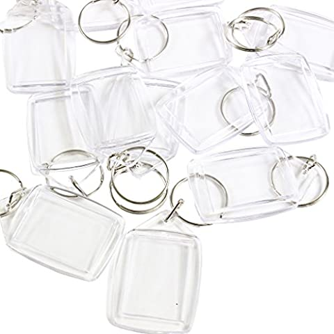 50 Clear Blank Photo Picture Keyrings Key Chains Inserts 35mm x 25mm by Kurtzy TM