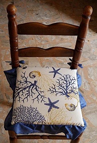 Intimodagiovanni cuscino coprisedia sofficiotto volan corallo blu corallo rosso made in italy soffice sfoderabile con zip (blu)