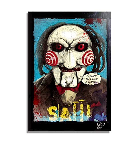 Art Pop Comics Kostüm - Billy die puppe aus dem Film SAW (Jigsaw) - Original Gerahmt Fine Art Malerei, Pop-Art, Poster, Leinwand, Artwork, Film Plakat, Leinwanddruck, Horror, Halloween