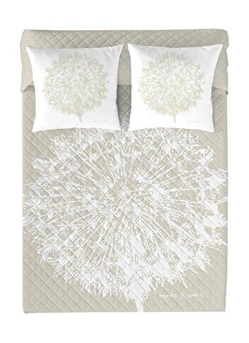 Devota & Lomba Copriletto trapuntato, modello Dente, disegno soffione letto 90 beige / bianco
