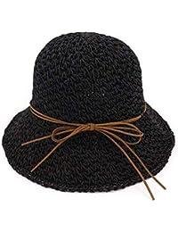 Yisaesa Sombreros de bombín para Las Mujeres Sombreros de Paja Sol de  Verano Foladable Gorras de 6ec000abf4e