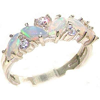 10ct White Gold Natural Opal & Diamond Womens Eternity Ring - Sizes J to Z Available