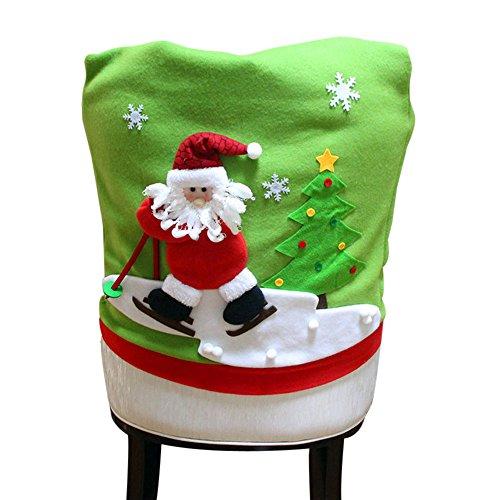 MAYOGO Weihnachten Stuhl Abdeckung Rot/Grün Weihnachtsmann Skifahren Muster -