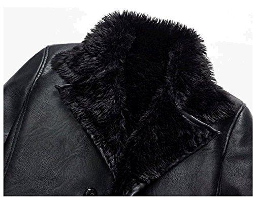 WS668 Winter Herren Warm Coat Leder Mantel Lamm Wolle Gefüttert Pelzkragen Motorrad Jacke 1168-Schwarz