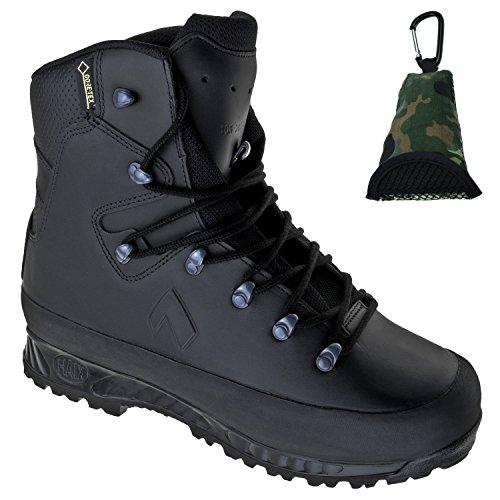 Haix KSK 3000 Einsatz-Stiefel aus Leder, schwarz, wasserdicht, Gore-Tex, Sun-Reflect, Berg-Schuh, atmungsaktiv mit Klimakomfort + Bundeswehr Mikrofaser Buddy-Towel, Gr. 41-45 (44)