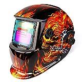 Máscara de soldadura solar powered auto oscurecimiento campana con rango de sombra ajustable 4/9-13 para MIG TIG ARC soldador máscara escudo cráneo llameante