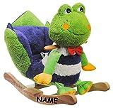 XL Plüsch und Holz Schaukelpferd - Frosch incl. Namen - mit Einstieghilfe und Sicherheitsgurt - Schaukeltier mit Plüschbezug / Kind Schaukel Schaukelfrosch / Tier Tiere Plüschschaukel für Kinder Mädchen Jungen