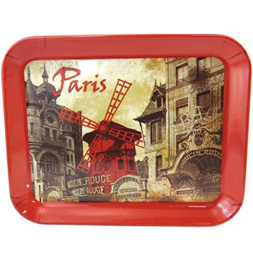 Les Trésors De Lily M1324 - Petit plateau 'Moulin Rouge' rouge beige vintage (15x20 cm)