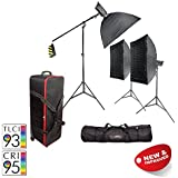 PIXAPRO® LED100D MKII Three Head Boom Kit with Softboxes, Stands and Roller Case Daylight LED Continuous Studio Video Interview Film Light Bowens S-Type Fit Remote Dimmable Video Continuous Constant Light Green Screen Film Marketing Movie Lighting Still Life Portrait (Improved Colour) CRI>94 *2 Year UK Warranty *Fast Delivery *UK Stock *VAT Registered … (Three Head Boom Kit, With Roller Case & Softbox)