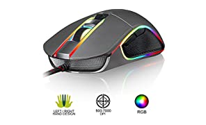KLIM AIM Chroma RGB Gaming Mouse - PC PS4 Xbox One - Wired USB - Adjustable 500 to 7000 DPI - Programmable Buttons - Comfortable for all Hand Sizes - Ambidextrous Excellent Grip Gamer Gaming Grey