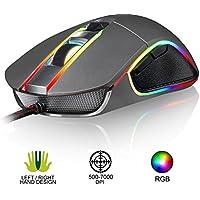 KLIM AIM Souris de Jeu Chroma RGB USB Filaire - 500-7000 DPI Ajustables - Boutons Programmables - Confortable pour Toute Taille de Main - Ambidextre Excellent Grip Gamer Gaming PC PS4 Xbox One - Gris