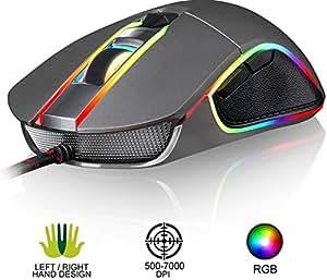 ⭐️KLIM™ AIM Souris Gamer - Souris de Jeu Chroma RGB USB Filaire - 500-7000 DPI - Boutons Programmables - Confortable pour Toute Taille de Main - Ambidextre Excellent Grip Gaming PC PS4 Xbox One - Gris