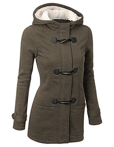 Byd da donna giacca cappotto con cappuccio giacche abbottonato parka invernale outwear,verde,xx-large