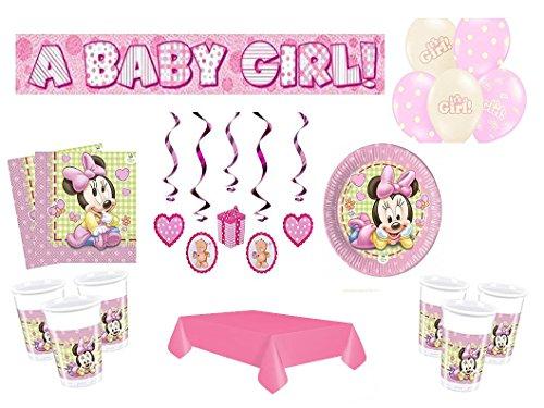 Partydekoset Babyparty Baby Shower Minnie Baby Mädchen rosa für 8 Personen 49teilig Pullerparty Baby Geburt Babyparty Komplettset Tischdeko Party Geschirr