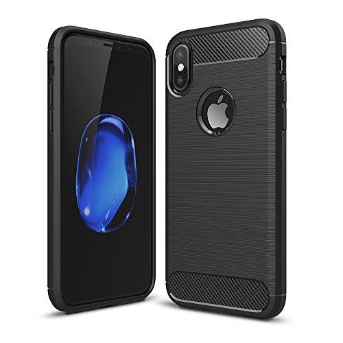 iPhone X Hülle, BENKER Stoßdämpfend und Anti-Fingerprint [ Gute Berührung ] Soft Silikon TPU Material Carbon Fiber Design Handyhülle - Schwarz Schwarz