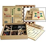 Deluxe large over 10 in 1 wooden games compendium dice games, board games, card games & more