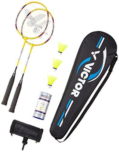 VICTOR Badminton Set - 2x AL-2200 / Racketbag / 3x Nylonball Badmintonschläger - Gelb/Silber/Rot