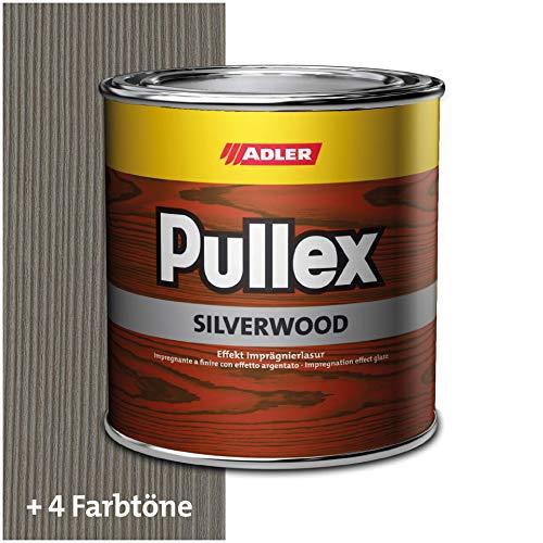 ADLER Pullex Silverwood - Effekt Imprägnierlasur & Holz Grundierung - Farbige Holzlasur Außen als effektiver Wetterschutz mit speziellen Metalleffektcharakter - Holzschutzlasur Farbe: Silber - 5l