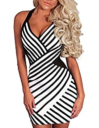 Y-BOA Col v Dos Nu Moulant Soirée Party Robe Mini Stretch Rayure Bretelle