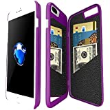 Coque iphone 7 Plus portefeuille avec Miroir pour Les Femmes, Bidear Enfermé Miroir Arrière Cover avec 3 Cartes Bancaires Slot étui Dur pour Apple iPhone 7 Plus et iPhone 6 Plus/ 6s Plus-5.5 pouces(Violet)