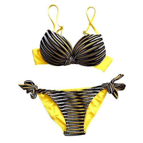 SuperSU-Bademode ►▷Sommer Damen Badeanzug Striped Print Spleiß Badebekleidung Sexy Frenulum Bikini Frauen Lässiges Urlaub Split Badeanzug Bikinis Beachwear Bademode Zweiteiler