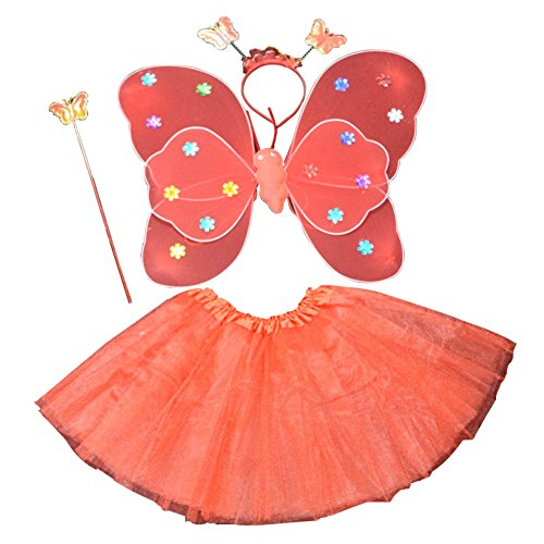 �dchen 4PCS Fee Schmetterling Stirnband Tutu Rock Halloween Party Kostüm Set (Mädchen, Kleinkind, Halloween Kostüm)