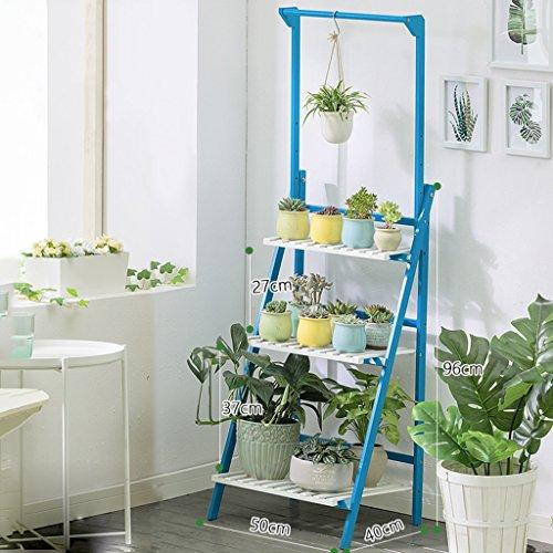 Fleur Stand Solid Wood Floor Suspension Pot De Fleurs Rack Multifonction Balcon Patio Simple Moderne etagere pour (Couleur : Bleu, taille : 50 cm)