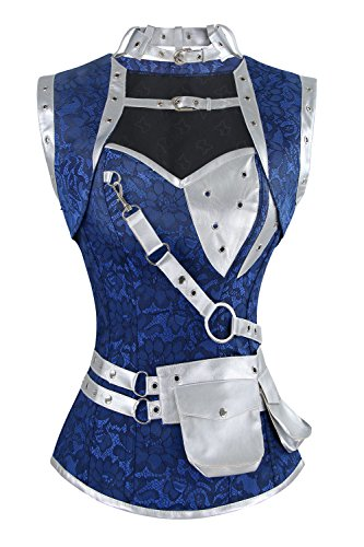 Charmian Women's Steampunk Goth Retro Spiral Steel Boned Jacket Corset with Belt Blue/Silver XXXX-Large