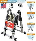 #4: Euro Double Telescopic Aluminium Ladder 5 Meter (16.4 Feet) - Stores At 3 Feet - A Frame 9 Feet - Wall Support 17 Feet