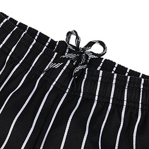 MagiDeal Chef Koch Hosen Elastischer Bund gestreift Arbeitskleidung 3 Muster Größen: M, L, XL,2XL,3XL,4XL - Stil 2, M - 6