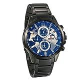 JewelryWe Herren Armbanduhr Analog Quarz 30M Wasserdichte schwarz Edelstahl Band Uhr mit Weltkarte Design Zifferblatt, Silber Zeiger