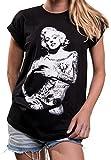 Ausgefallenes Damenshirt mit Aufdruck - Marylin - Tattoo Shirt Damen Monroe Rundhals Top große Größe L