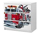 Set Möbelaufkleber für Ikea Kommode MALM 3 Fächer/Schubladen Kinderzimmer Feuerwehr Feuerwehrauto Kat2 Boy ML3 Aufkleber Möbelfolie sticker (Ohne Möbel) Folie 25C2659