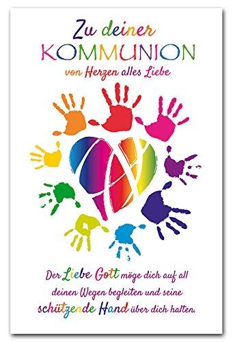 Diverse 10 Glückwunschkarten Kommunion Herz Hände Spruch Grußkarten Hüllen 120-1448