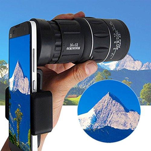 Monokulare Teleskop,Colorful 16x52 Zoom Dual Focus Monokulare Teleskop 66M / 8000M,Handy Zoom Objektiv für iPhone X / 8 7 Plus / 6S Samsung Galaxy S8 S7 Huawei und die Meisten Android Smartphone